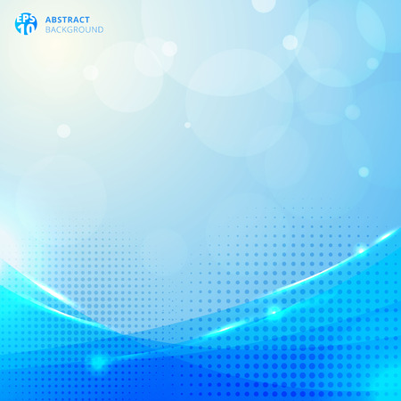 Abstract circles and halftone with lighting effect and bokeh on blue background. Vector illustration Ilustração