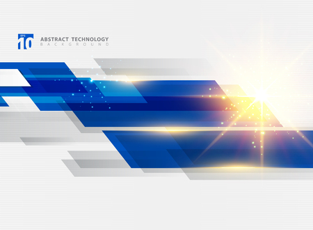 Abstract technology geometric blue color shiny motion background with lighting effect. Template with header and footer for brochure, print, ad, magazine, poster, website, magazine, leaflet, annual report. Vector corporate design Ilustração