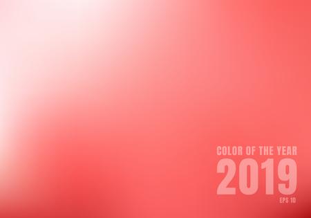 Abstract red blurred background with light. Trend color living coral 2019. Vector illustration Ilustração