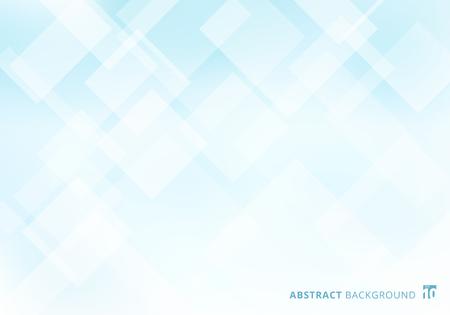 Abstract elegant squares shapes pattern overlay layer geometric white and blue gradient color background. Vector illustration Ilustração