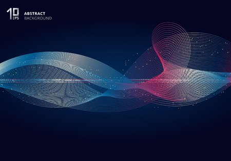 Abstract colorful light lines wave futuristic style on dark blue background with gold glitter. Vector illustration