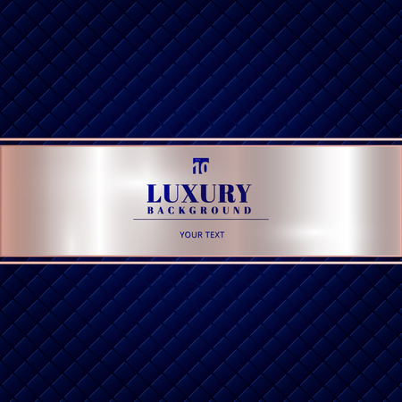 Luxury invitation blue background with a pattern of squares texture and pink gold ribbon banner. Vector illustration