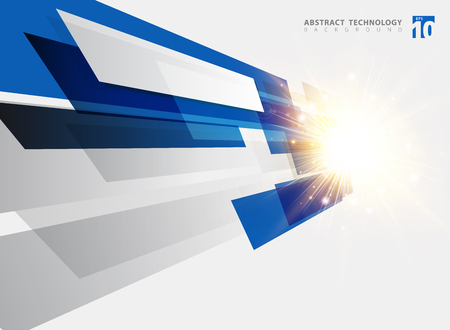Abstract technology geometric blue color shiny motion background with light explosion. Template with header and footer for brochure, print, ad, magazine, poster, website, magazine, leaflet, annual report. Vector corporate design