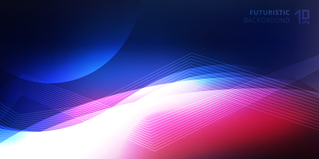 Abstract smooth neon glowing light lines wave futuristic background technology style. Vector illustration Ilustração