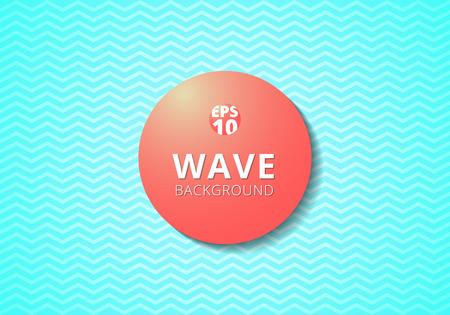 Wave blue lines pattern background and Red 3D label circle. Zig zag, chevron. Vector illustration Ilustração