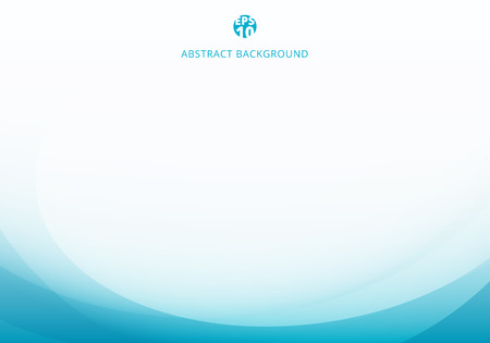Abstract elegant blue light curve template on white background with copy space. Vector illustration