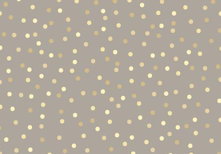 Abstrakte goldene Funkelnpunkte auf braunem Pastellfarbhintergrund. Metallfolie mit goldenen Kreisen, die Sie für Vorlagenverpackungspapier oder Grußkarten verwenden können. Vektor-Illustration