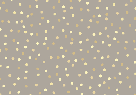 Streszczenie złoty brokat kropki na brązowy pastele kolor tła. Metalowa folia w złote kółka, której można użyć do papieru do pakowania szablonu lub kartki z życzeniami. Ilustracja wektorowa