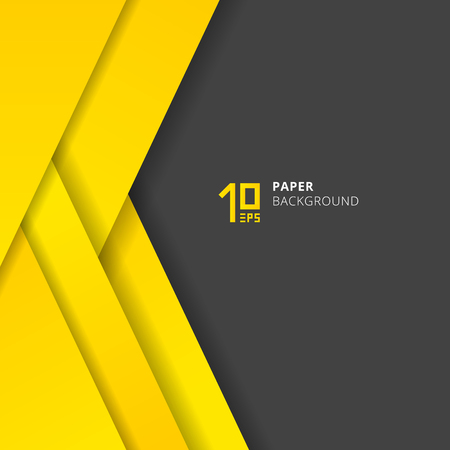 Template abstract geometric triangles layer yellow paper cut style on gray background space for text. Vector illustration Ilustração