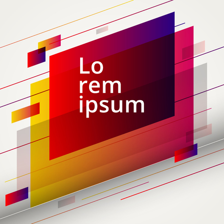 Abstract geometric red and yellow color design elements on white background for graphic layout, banner web, tag, label. Vector illustration