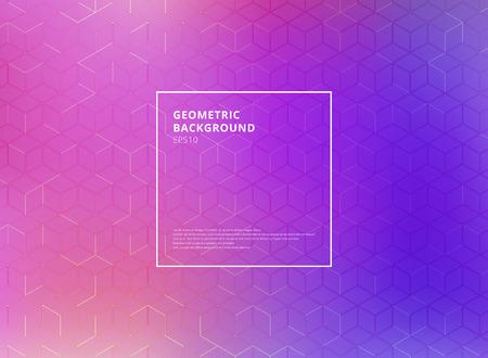 Abstract cube pattern on blue and purple gradients background. Digital geometric lines square mesh. Vector illustration Ilustração