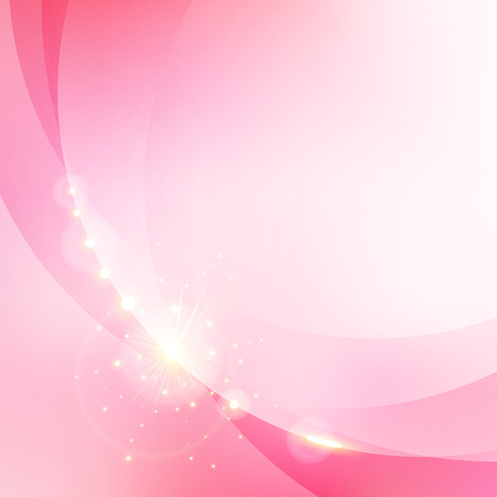 Abstract pink blurred bokeh background with gold shining glittering light elements. Valentines day and wedding card. Vector illustration