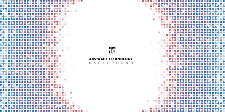 Abstract banner web dots blue and red color on white background, Technology style, Data transfer, Vector illustration