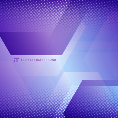 Abstract geometric hexagons overlapping with halftone white and purple color background. Vector illustration Vettoriali