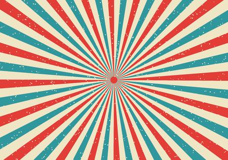 Retro sunburst e raggi fumetto comico stile popart sfondo. Grunge vintage astratto con luce solare. Illustrazione vettoriale