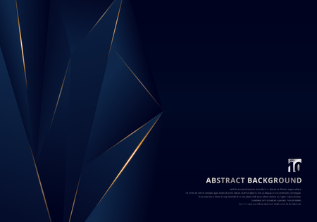 Abstract template dark blue luxury premium background with luxury triangles pattern and gold lighting lines. Vector illustration Vetores