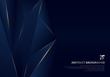 Modèle abstrait fond premium de luxe bleu foncé avec motif de triangles de luxe et lignes d'éclairage dorées. Illustration vectorielle Vecteurs