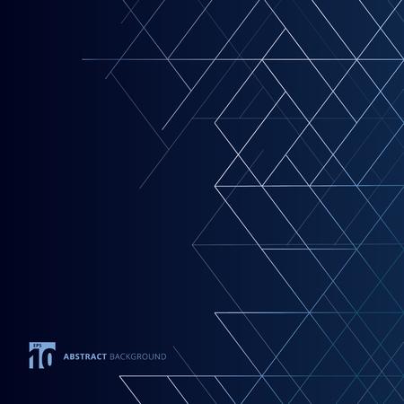 Abstrakte Maßlinien silberne Farbe auf dunkelblauem Hintergrund. Quadratisches Netz im modernen Luxus-Stil. Digitale geometrische Abstraktion mit Linie. Vektor-Illustration