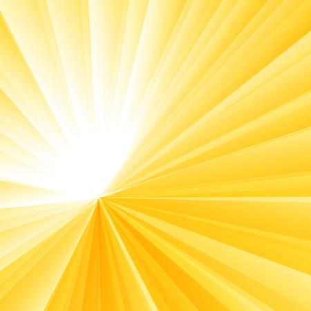 Abstrakter heller gelber radialer Steigungshintergrund. Sunburst-Strahlenmuster. Vektor-Illustration