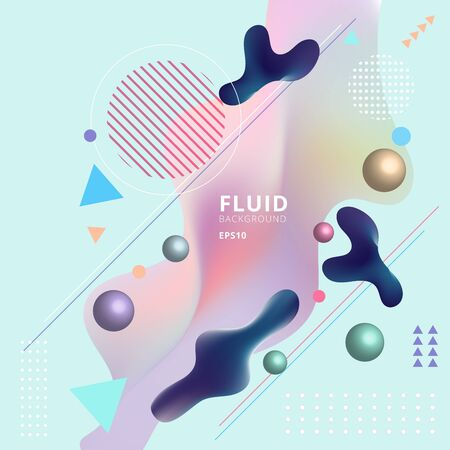 Abstract template colorful fluid shapes and geometric poster cover design background. You can use for place cards, banners, flyers, presentations and annual reports. Vector illustration