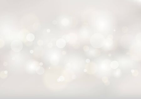 Abstract soft white blurred background with bokeh lights. Vector illustration