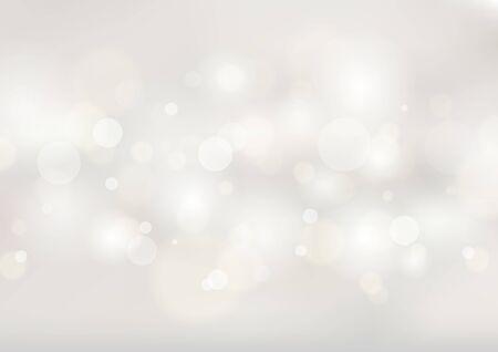 Streszczenie miękkie białe niewyraźne tło z bokeh światłami. Ilustracja wektorowa