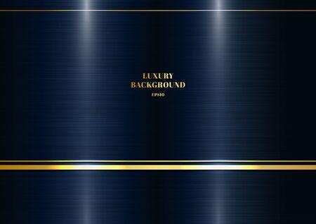 Streszczenie nowoczesny szablon metaliczny ciemny klasyk niebieskie tło z dekoracją złotej linii. Luksusowy styl. Ilustracja wektorowa