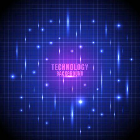 Griglia futuristica della linea di incandescenza di tecnologia astratta con fondo blu-chiaro del laser. Illustrazione vettoriale Vettoriali