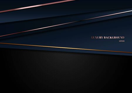 Abstract template dark blue luxury premium background with geometric triangles pattern and golden, pink gold lighting lines. Vector illustration