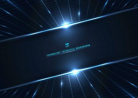 Grille de perspective de concept numérique futuriste de technologie abstraite et effet d'éclairage des éléments de points de particules incandescentes cercle sur fond bleu foncé. Big Data. Illustration vectorielle Vecteurs