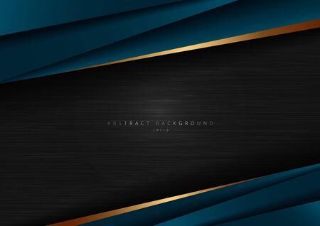 Abstract template dark blue luxury premium on black background with geometric triangles pattern and golden striped lines. Vector illustration