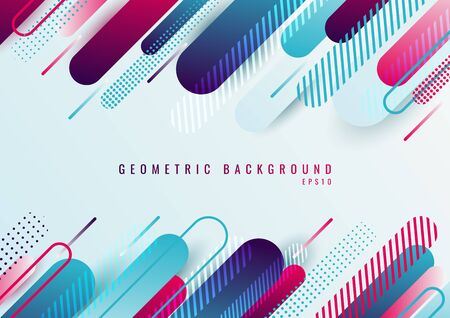 Abstract blue and pink geometric rounded line diagonal pattern on white background. Vector illustration