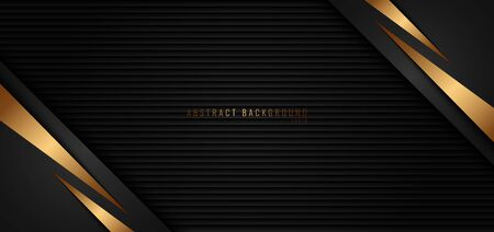 Banner web template gold stripes triangle diagonal on black background and texture. Luxury style. Vector illustration