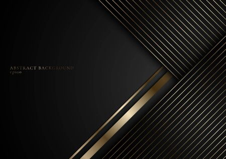 Abstract stripes golden lines on black background with space for your text. Luxury style. You can use for cover brochure template, poster, banner web, flyer, print ad, etc. Vector illustration  イラスト・ベクター素材