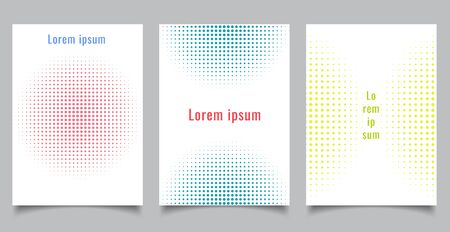 Brochure template set abstract halftone style circles on white background and texture. Vector illustration