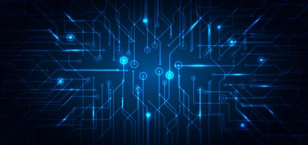 Abstract technology futuristic concept electronic circuit blue glowing on dark background. Technological structure computer business. Vector illustration Vector Illustration