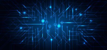 Abstrakte Technologie futuristisches Konzept elektronische Schaltung blau leuchtend auf dunklem Hintergrund. Computergeschäft mit technologischer Struktur. Vektor-Illustration Vektorgrafik