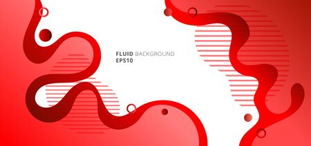 Abstract modern fluid or liquid red gradient colors with geometric elements on white background. Vector illustration  イラスト・ベクター素材