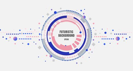 Abstract banner design technology futuristic blue and pink gear circles with geometric elements on white background. Vector illustration  イラスト・ベクター素材