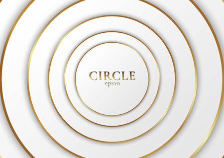 Abstract background elegant modern white circle shape design with golden line. Vector illustration