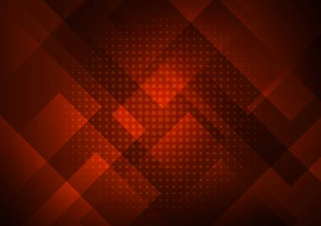 Abstract red background with geometric square shapes layer in transparent design and halftone. Vector illustration