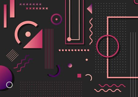 Abstract trendy pink and purple geometric shape elements pattern on black background. You can use for poster, artwork, template design, brochure. Vector illustration  イラスト・ベクター素材