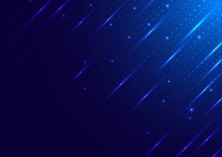 Abstract technology digital futuristic different neon glowing dots particles with lighting on blue background. Big data. Vector illustration  イラスト・ベクター素材