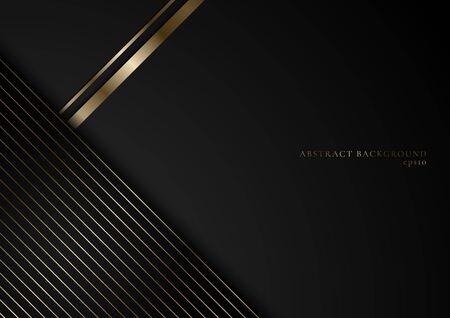 Abstract stripes golden lines on black background with space for your text. Luxury style. You can use for cover brochure template, poster, banner web, flyer, print ad, etc. Vector illustration 矢量图像