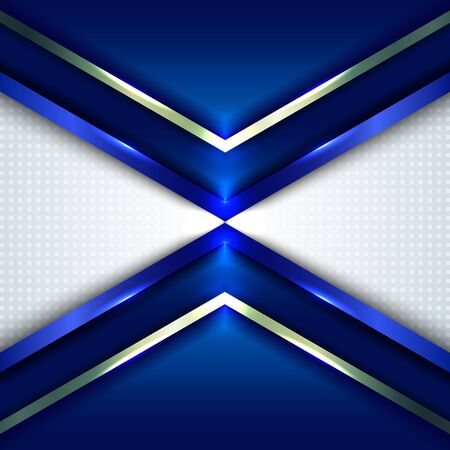 Abstract technology concept blue metallic angle arrow overlapping on white background with space for your text. Vector illustration  イラスト・ベクター素材