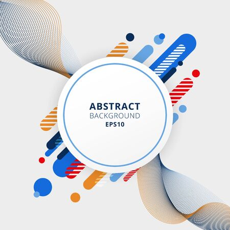 Abstract blue, orange and red color geometric composition made of various rounded shapes diagonal lines and wavy line elements with white circle space for your text. Vector illustration