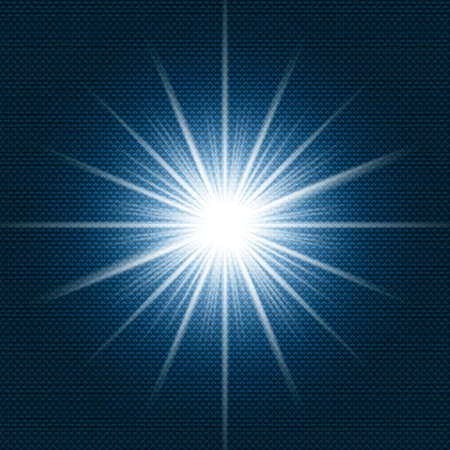 Starlight Shining flare with rays on dark blue gradient background and chevron pattern texture. Vector illustration  イラスト・ベクター素材