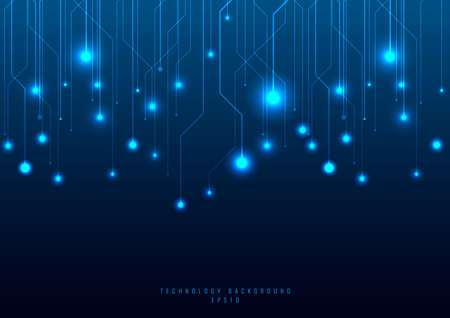 Abstract technology futuristic concept line and node on blue background. Networking science. Dark with connecting dots and lines. Connection structure. Vector illustration 矢量图像