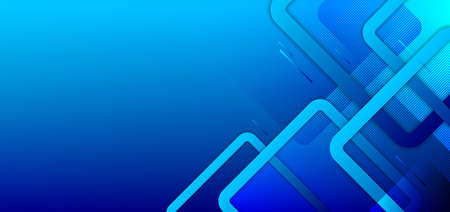 Abstract minimal style blue gradient background with geometric squares overlapping creative design technology concept. You can use for banner web, cover brochure, website template, presentation, etc. Vector illustration  イラスト・ベクター素材