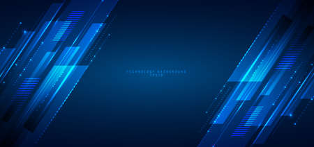 Abstract banner web design template blue geometric lines overlapping layer movement on dark background. digital technology futuristic concept. Vector illustration